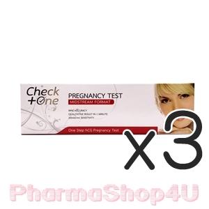 (ซื้อ3 ราคาพิเศษ) (แบบฉี่ผ่าน) Check One Pregnancy Test 1 กล่อง เชควัน ชุดทดสอบการตั้งครรภ์ แบบฉี่ผ่าน ด้วยความแม่นยำสูง 99.9%