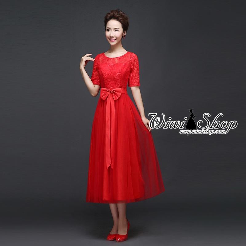 W7234 ชุดราตรียาวสีแดง แขนสามส่วน ผ้าลูกไม้ผสมผ้าตาข่ายซีทรู แนวหวาน เรียบร้อย ดูดี สำหรับใส่เป็นชุดไปงานแต่งงาน ชุดออกงาน ชุดเพื่อนเจ้าสาวธีมงานสีแดง