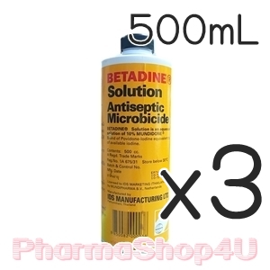 (ซื้อ3 ราคาพิเศษ) Betadine Solution เบตาดีน โซลูชั้น 500mL ใช้ใส่แผล ฆ่าเชื้อโรค ฆ่าเชื้อสิว ไม่แสบ ล้างออกง่าย ไม่ทิ้งคราบ กลิ่นไม่ฉุน