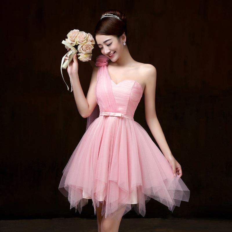 ชุดราตรีสั้น สีชมพู ไหล่ฉียง สวยๆ แนวหวาน น่ารัก