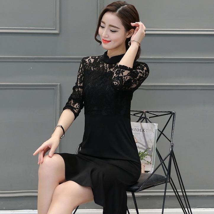 ชุดเดรสสีดำ แขนยาว เรียบร้อย สวยหวาน แฟชั่นชุดทำงานสวยๆสไตล์สาวออฟฟิศ