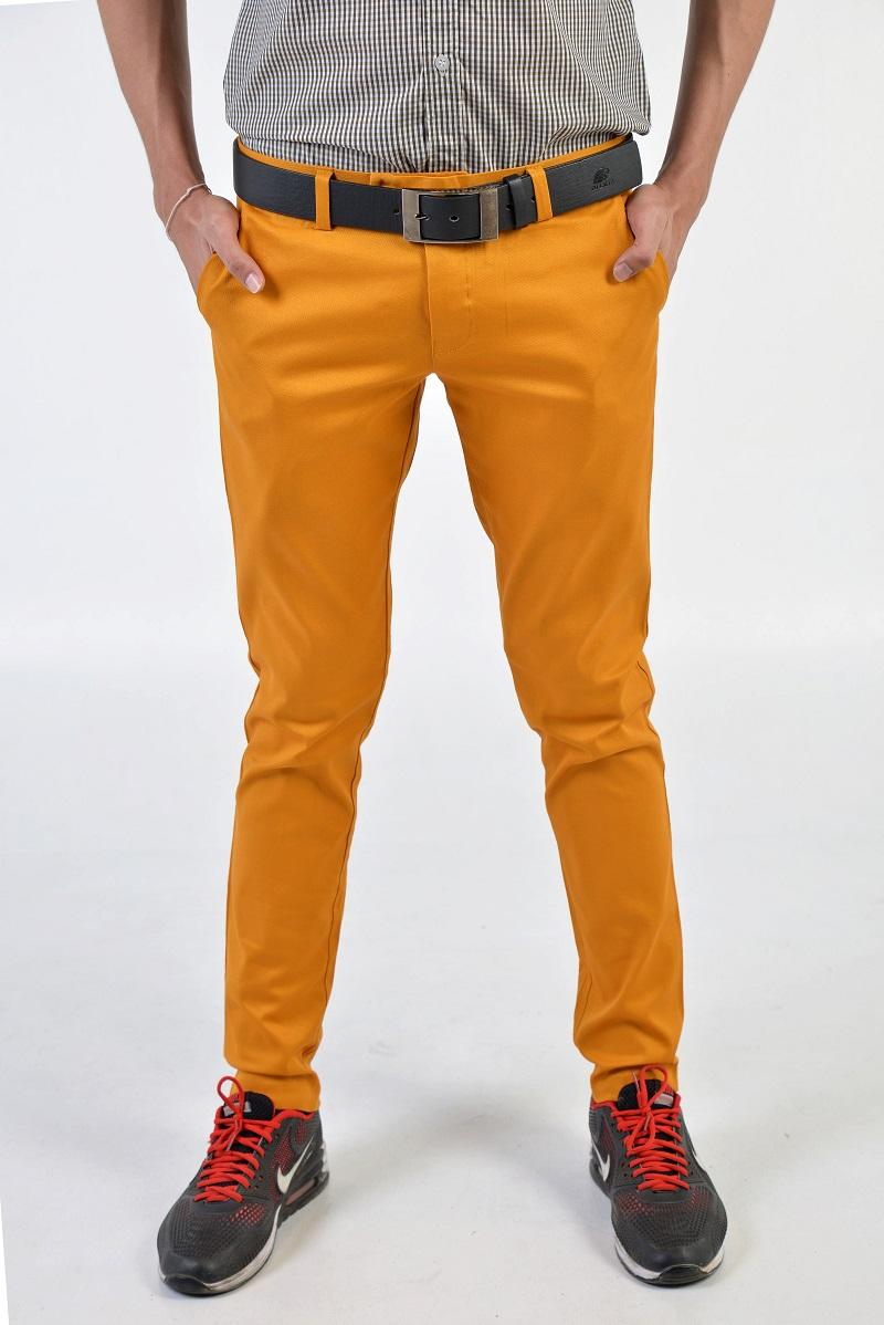กางเกงสแล็คผู้ชายสีเหลืองมัสตาร์ด ผ้ายืด ขาเดฟ