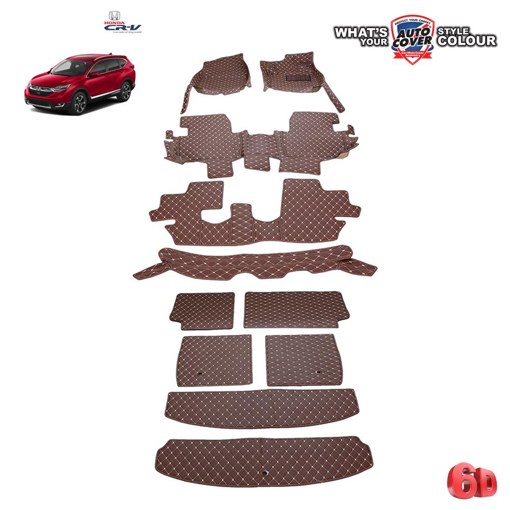 พรมรถยนต์เข้ารูป 6 D Leather Car Mat รถ HONDA ALL NEW CRV 2017 -2021 Gen 5 จำนวน 11 ชิ้น