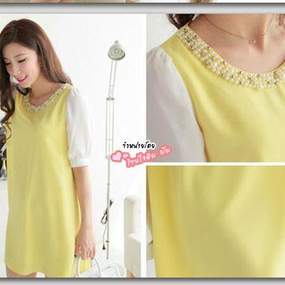 เสื้อคลุมท้องสีเหลืองรอบคอแต่งมุกมีซับใน