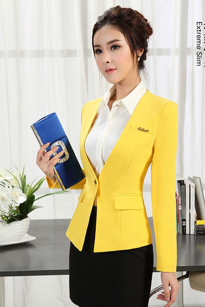 (สินค้าหมด) เสื้อสูทแฟชั่นผู้หญิง เสื้อสูททำงาน สีเหลือง คอวีลึก แขนยาว เสริมหัวไหล่เข้ารูป