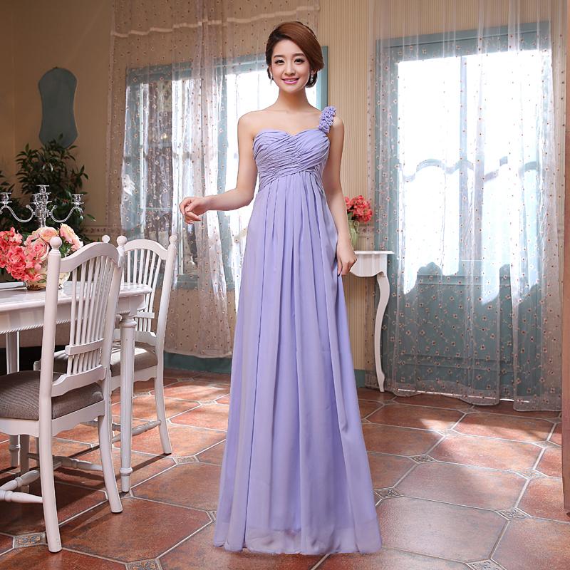ชุดราตรีชุดออกงานชุดไปงานแต่งสีม่วงเรียบหรูดูดี