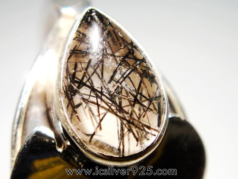 ไหมดำ Black Rutile - แหวนเงินแท้ 925 (แหวนเบอร์ : 56)