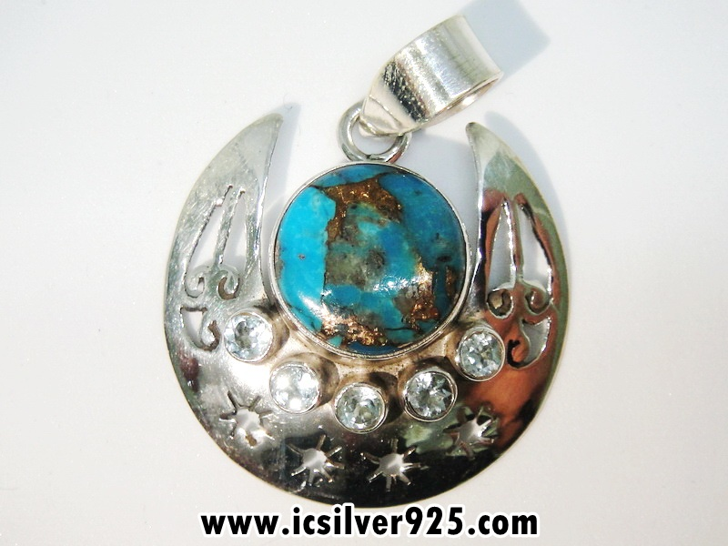 ▽Copper Blue Turquoise & Blue Topaz จี้เงินแท้ 925 (5.1g)