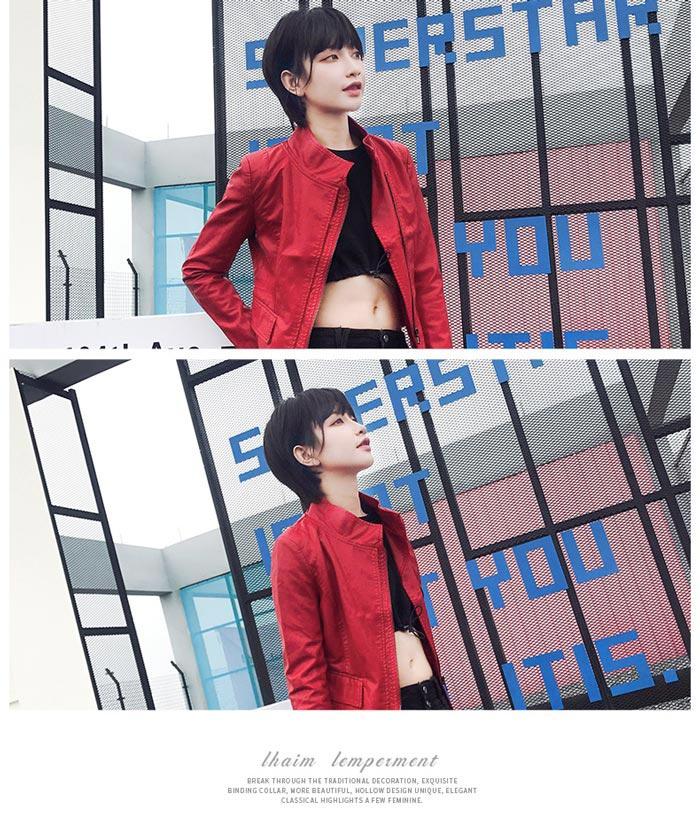 เสื้อแจ็คเก็ตหนังผู้หญิง แฟชั่นเกาหลี สีแดง แจ็คเก็ตหนัง PU คอจีน เท่ๆ สุดคลาสสิค