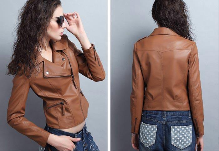 เสื้อแจ็คเก็ตหนังผู้หญิง แฟชั่นเกาหลี สีน้ำตาล แจ็คเก็ตหนัง PU คอปก มีสไตล์ แนวเท่ๆ