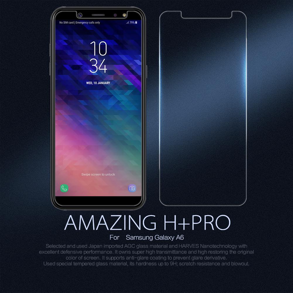 กระจกนิรภัย NILLKIN 9H+ PRO Galaxy A6 2018 แถมฟิล์มติดเลนส์กล้อง