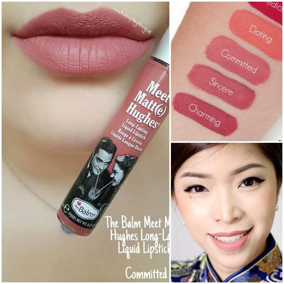 T้he Balm Meet Matte Hughes Long Lasting Liquid Lipstick 7.4 ml. #Committed : สีชมพูเจือน้ำตาล งามสุดๆ คือดีงาม ไม่ว่าสาวๆ จะสีผิวไหน ก็ทาได้สวย ทาได้บ่อยๆ ทาได้ทุกวัน ขึ้นแท่นสีแนะนำเลยค๊า
