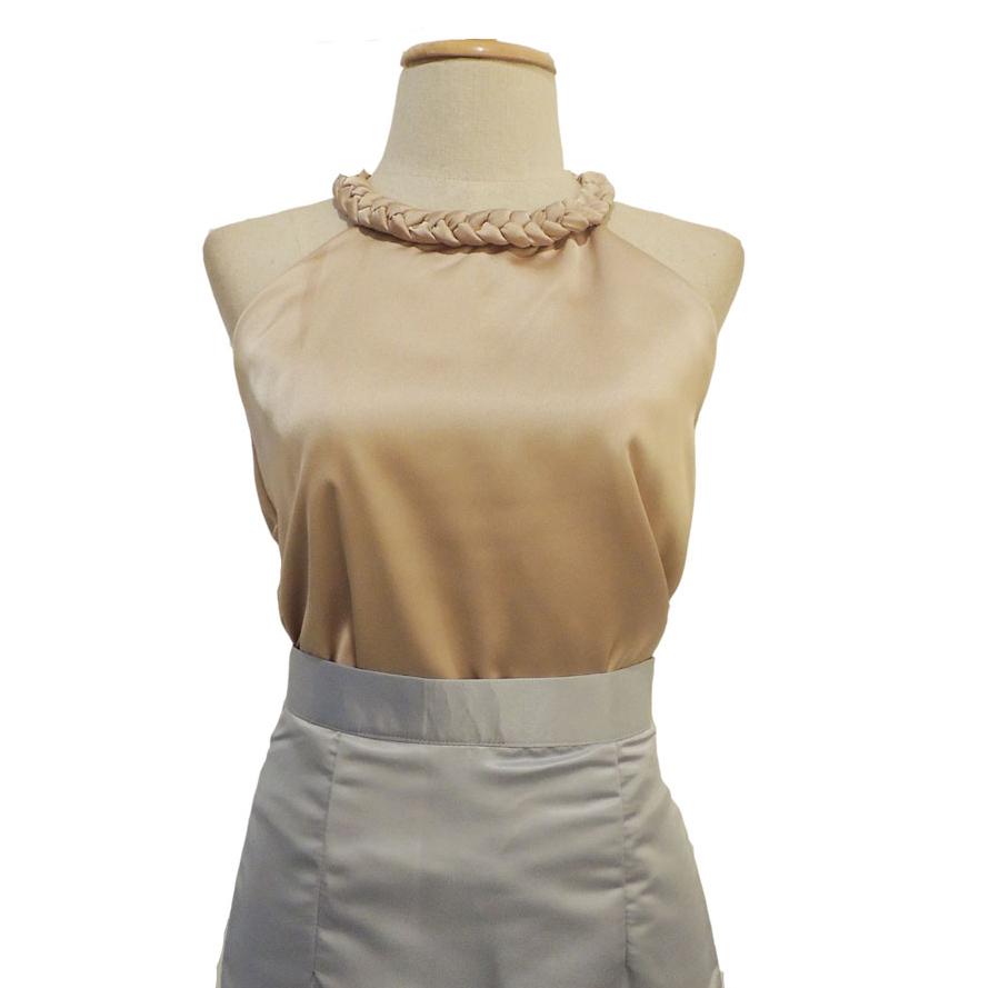 เสื้อออกงานสีทอง คอเปียใหญ่ แขนกุด ผ้า ผ้าซิลค์ซาติน