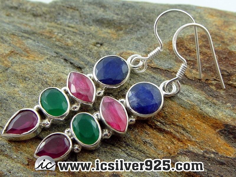 ▽ทับทิม, มรกต และ ไพลิน Indian Sapphire, Ruby & Emerald- ต่างหูเงินแท้ 925 (5.7g)