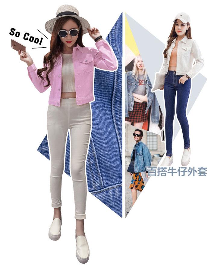 เสื้อยีนส์ผู้หญิง แจ็คเก็ตยีนส์ เสื้อคลุมยีนส์ สีชมพู แขนยาว คอปก แฟชั่นเกาหลี