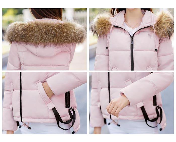 เสื้อกันหนาวผู้หญิงแฟชั่นเกาหลี สีขาว แจ็คเก็ตมีฮู้ด พร้อมเฟอร์ขนสัตว์ ชายเสื้อเล่นระดับ ดีไซน์เก๋ๆ