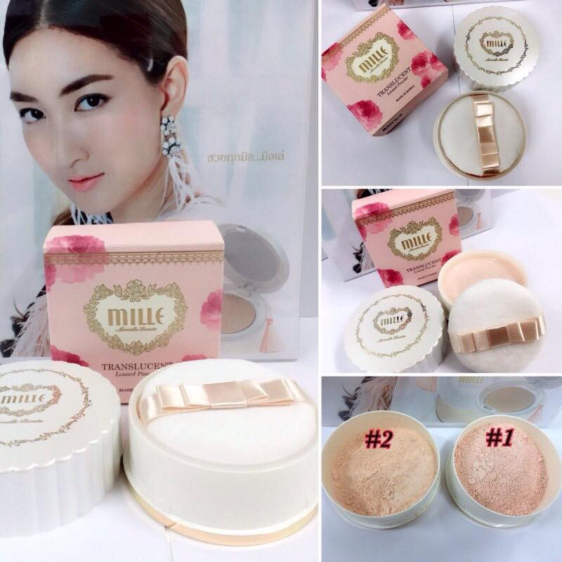 Mille Translucent Loosed Powder 20g. #1 Natural Pink เหมาะสำหรับผิวขาว เนื้อแป้งสีอมชมพู