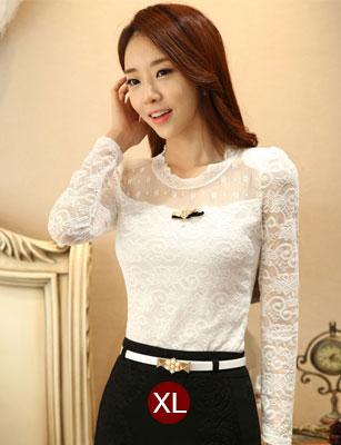 เสื้อทำงานสีขาวผ้าลูกไม้สวยหรู แขนยาว เข้ารูป พร้อมเข็มกลัดน่ารักๆ ไซส์ XL