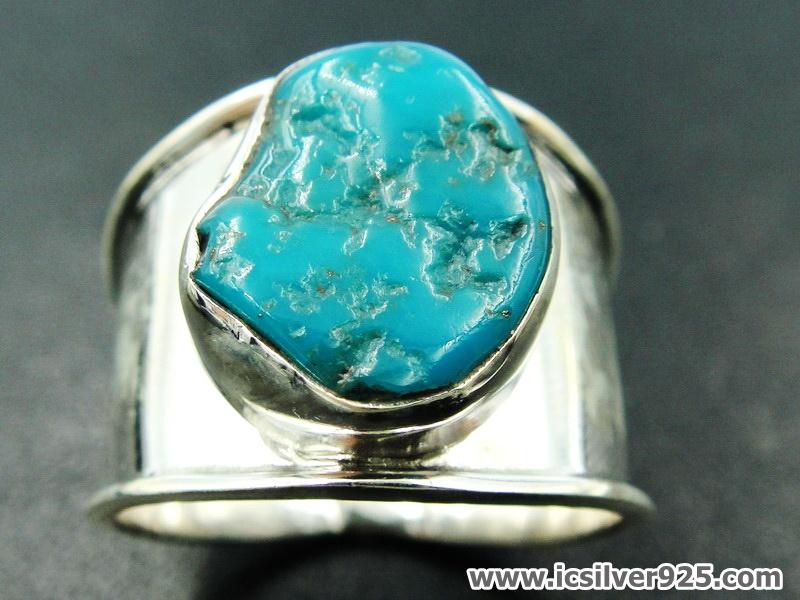ทอร์ควอยซ์ Turquoise แหวนเงินแท้ 925 (แหวนเบอร์ : 58)