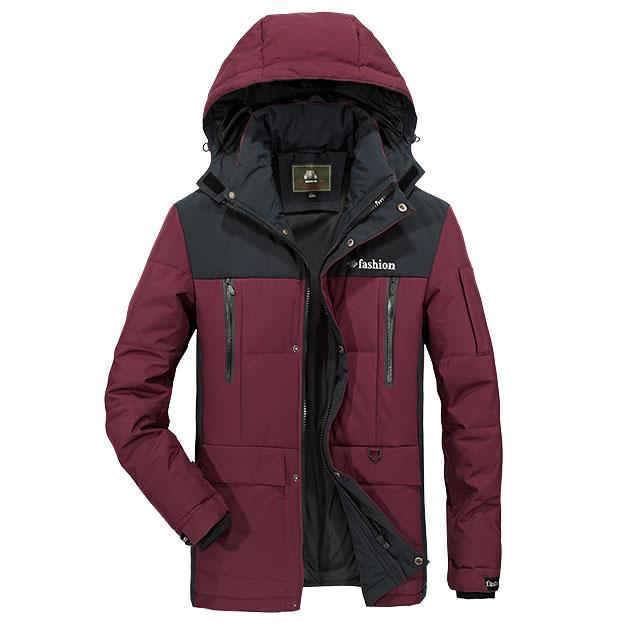 เสื้อกันหนาวผู้ชาย เสื้อแจ็คเก็ตผู้ชายมีฮู้ด สีแดงตัดดำ เท่ๆ ซับบุ จั้มข้อมือ