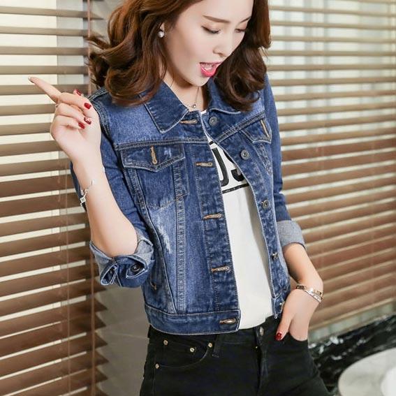 เสื้อยีนส์ผู้หญิง แจ็คเก็ตยีนส์ เสื้อคลุมยีนส์ สีน้ำเงินเข้ม แขนยาว คอปก แฟชั่นเกาหลี