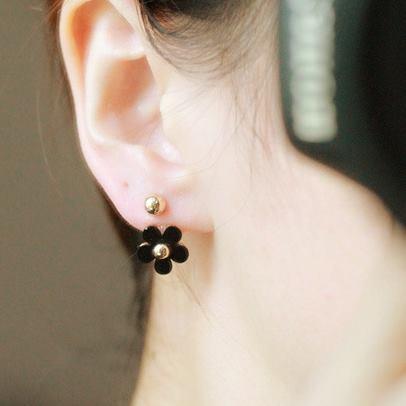 ต่างหูดอกไม้สีดำ สวยหวาน น่ารักๆ