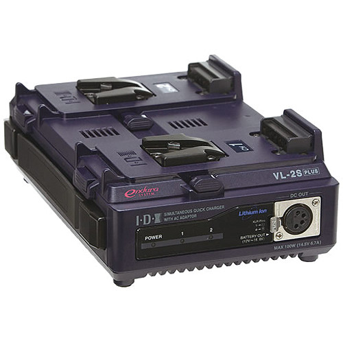 IDX VL-2SPLUS 2-Channel Fully Simultaneous V-Mount Battery Charger with AC Power Supply Adaptor (100W DC @ 13.8V)