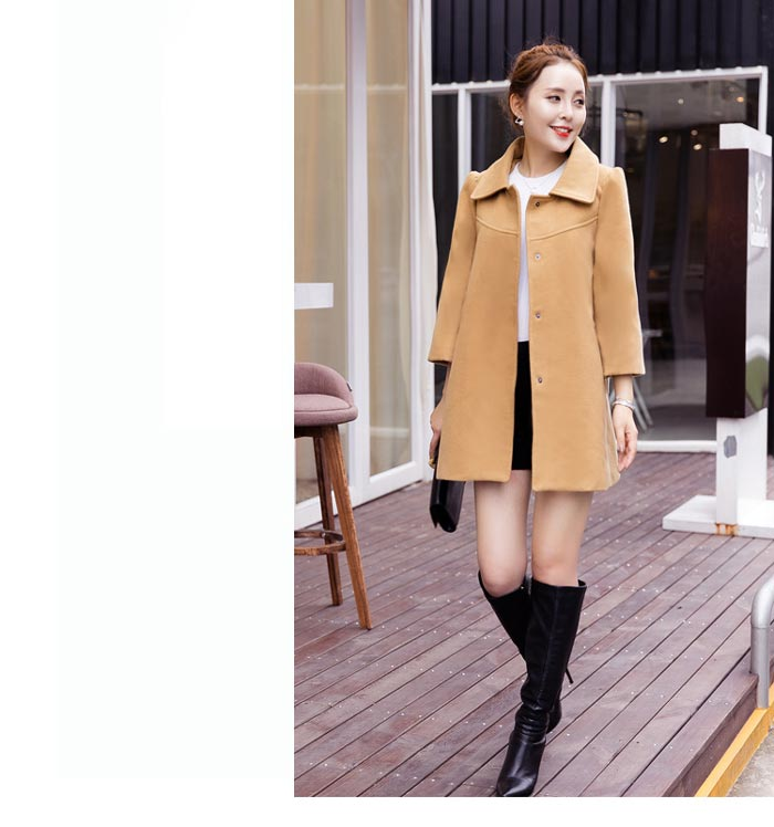 เสื้อโค้ทกันหนาวผู้หญิง สีกากี คอบัว ยาวคลุมสะโพก ทรงเก๋ ใส่กันหนาว สวยๆ