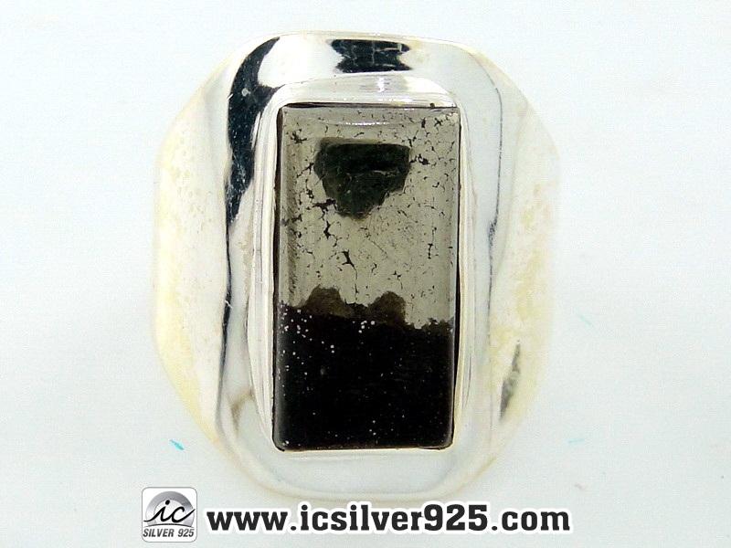 ▽ไพไรต์-แมกนีไทต์ PYRITE-MAGNETITE - แหวนเงินแท้ 925(SIZE 56, 5.8g)