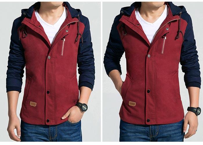 เสื้อแจ็คเก็ตผู้ชาย มีฮู้ดถอดได้ เสื้อกันหนาวผู้ชาย เท่ๆ สีแดง ตัดกรมท่า