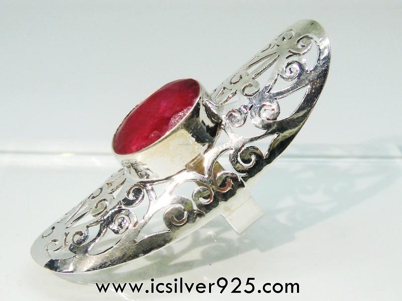 ▽ทับทิม Indian Ruby- แหวนเงินแท้ 925 (แหวนเบอร์ : 52 ,6.7g)