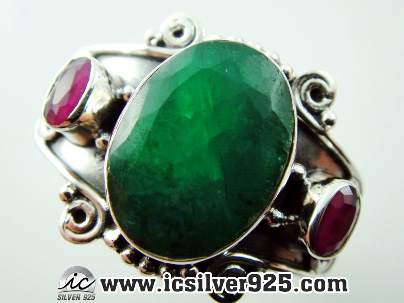 ▽มรกต ทับทิม Indian Emerald ,Ruby- แหวนเงินแท้ 925 (แหวนเบอร์ : 51 ,6g)