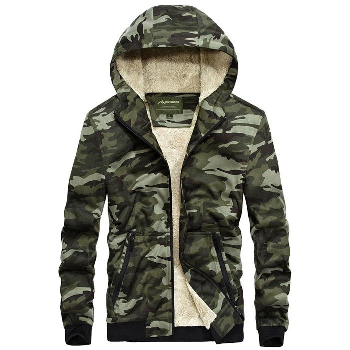 เสื้อกันหนาวผู้ชาย เสื้อแจ็คเก็ตผู้ชายมีฮู้ดบุขน ลายพรางทหารสีเขียว
