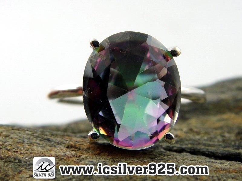 ▽โทพาซสีรุ้ง (Rainbow Topaz) แหวนเงินแท้ 925 (แหวนเบอร์ : 55, 3g)