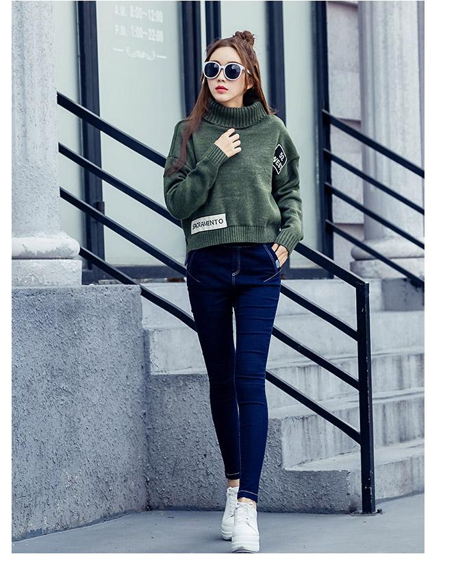 เสื้อไหมพรมแฟชั่นกันหนาว เสื้อสเวตเตอร์คอเต่า สีเขียว แขนยาว ดีไซน์เท่ เก๋สุดๆ