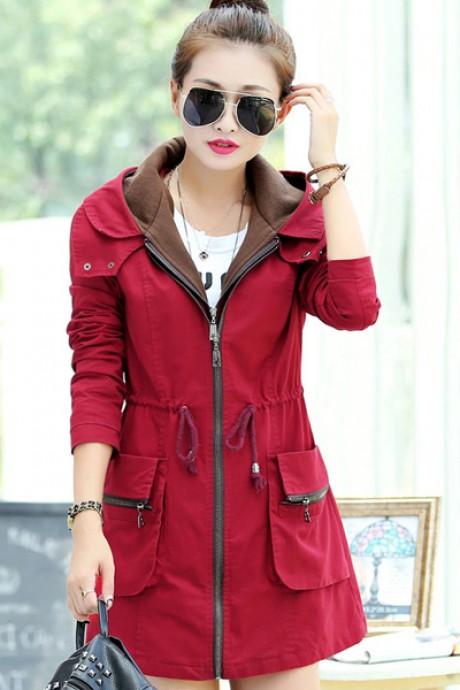 เสื้อกันหนาวผู้หญิง เสื้อกันหนาวแฟชั่นเกาหลี สีแดง มีฮู้ด ชุดยาวคลุมสะโพก