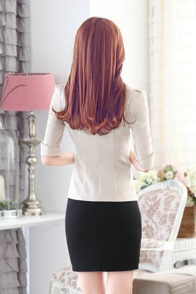 เสื้อสูทแฟชั่น เสื้อสูทผู้หญิง สีครีม แขนสามส่วน