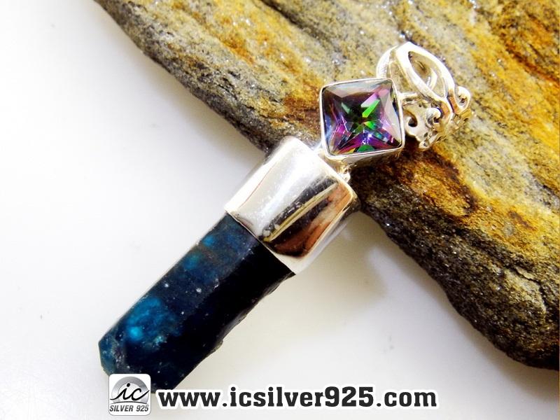 ▽อะพาไทต์ (Neon Blue Apatite) & Rainbow Topaz จี้เงินแท้ 925 (5g)