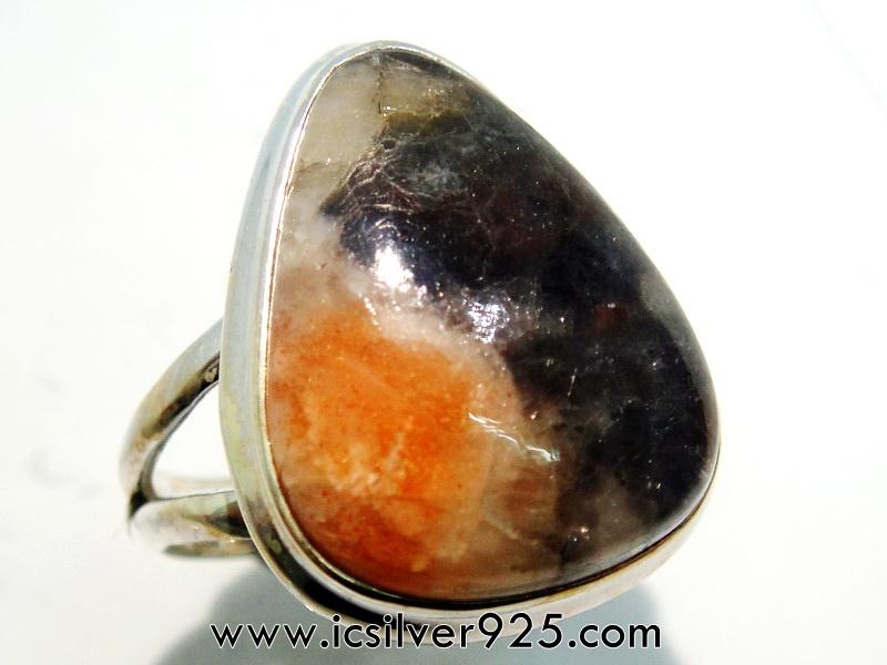 ▽ไอโอไลต์-ซันสโตน Iolite-Sunstone - แหวนเงินแท้ 925 (แหวนเบอร์ : 53)