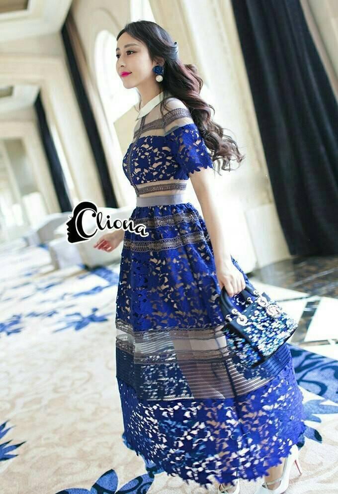 ' Blue LAdy Luxury Lace Long Dress