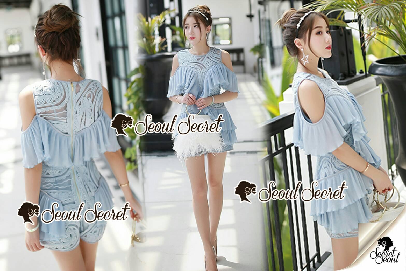 Seoul Secret Say's... Lasso Baby Blue Pleaty Playsuit