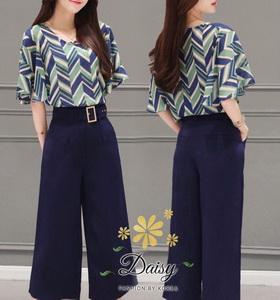 ชุดเซท เสื้อ+กางเกง เสื้อเป็นชีฟองเกาหลีเ