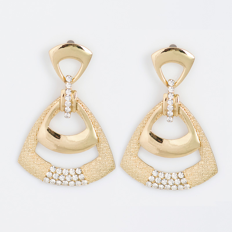 AY2577 - ต่างหูแฟชั่น ต่างหูหนีบ ต่างหูเกาหลี ตุ้มหูแฟชั่น ตุ้มหู ต่างหู เครื่องประดับ European style geometric diamond ear ornaments personality color diamond triangle earrings