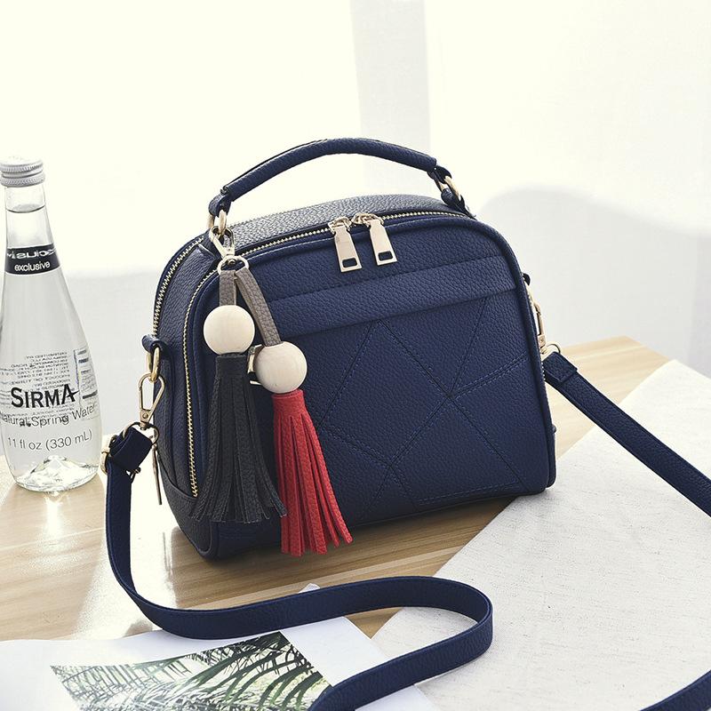 ขายส่ง กระเป๋าถือและสะพายข้าง ผู้หญิง แฟชั่นสไตล์เกาหลี รหัส KO-4556 สีน้ำเงิน *แถมพู่ห้อย