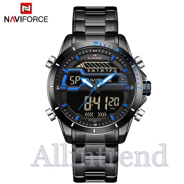 นาฬิกา Naviforce รุ่น NF9133M สีฟ้า สายสีดำ ของแท้ รับประกันศูนย์ 1 ปี ส่งพร้อมกล่อง และใบรับประกันศูนย์ ราคาถูกที่สุด