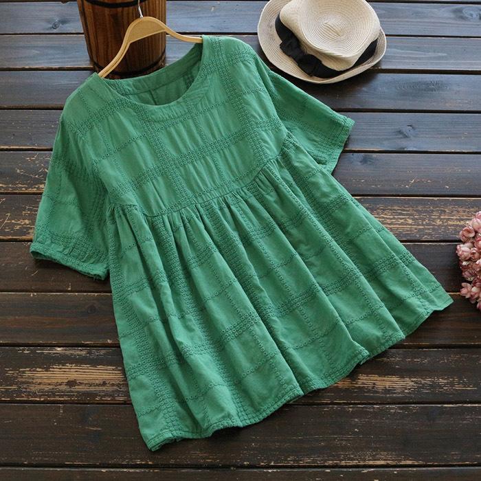 เสื้อผ้าฝ้ายปักลายลูกไม้ แขนสั้น (มีให้เลือก 4 สี)