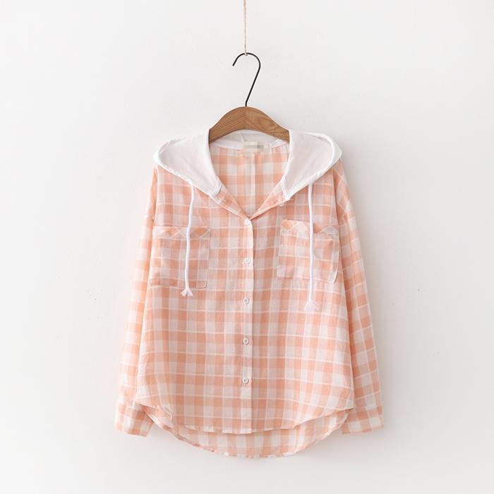 เสื้อคลุม/แจ็คเก็ตฮู้ดลายสก๊อตสีส้ม (มีให้เลือก 2 ไซส์)
