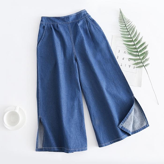 กางเกงยีนส์ขายาวผ่าชาย เอวยืด (มีให้เลือก 2 ไซส์)