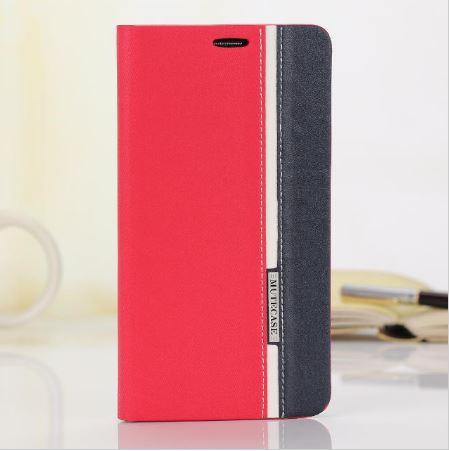 เคสซัมซุง s7 เคสหนัง leather synthetic สีชมพูน้ำเงินแถบขาว