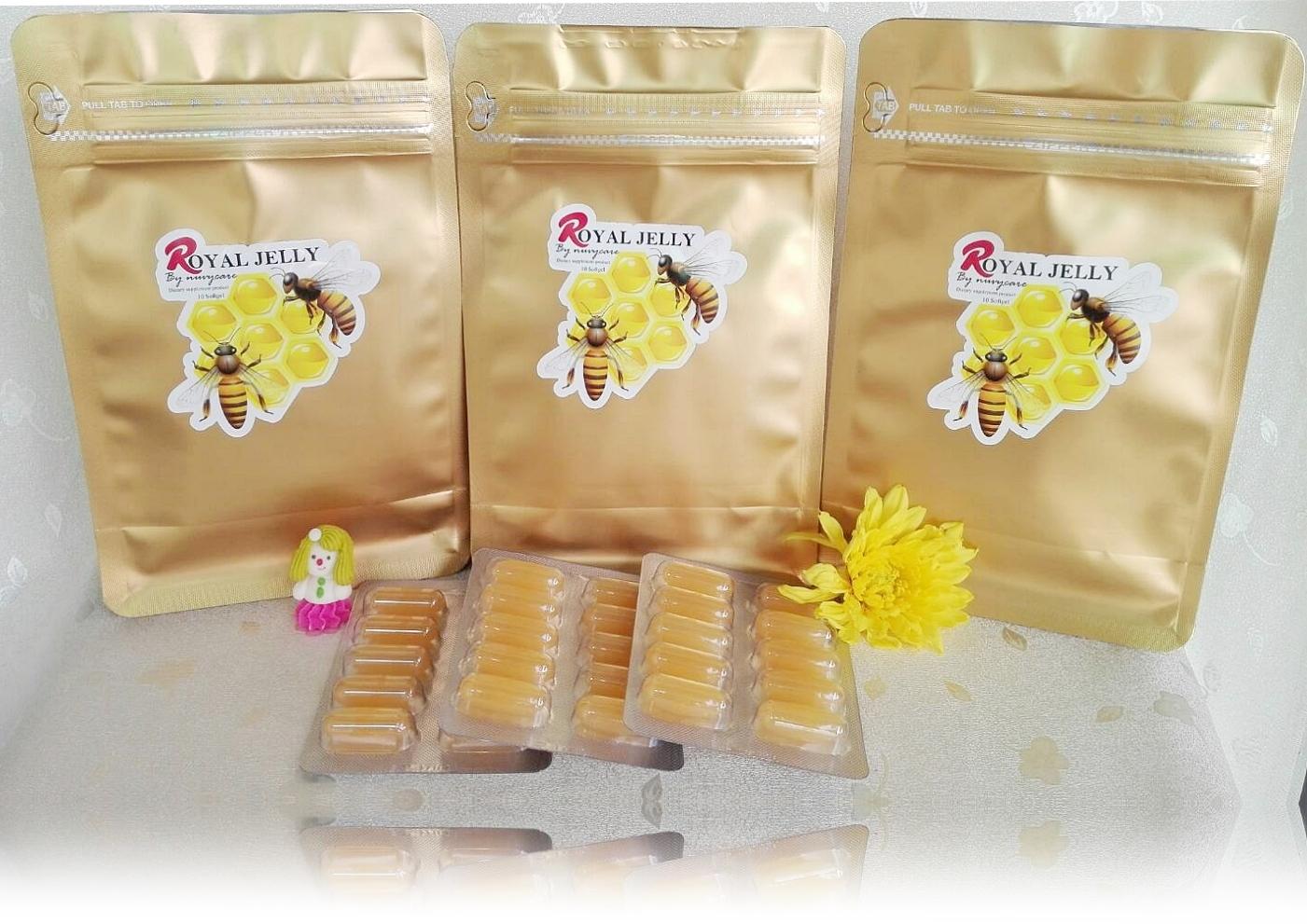 ROYAL JELLY 1200 mg เสริมสุขภาพ เสริมคอลลาเจน บำรุงผิวเนียน ผิวเด้ง ฆ่าความแก่ (1ซอง 30เม็ด)